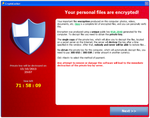 CryptoLocker Screenshot - pay up or your data gets it!